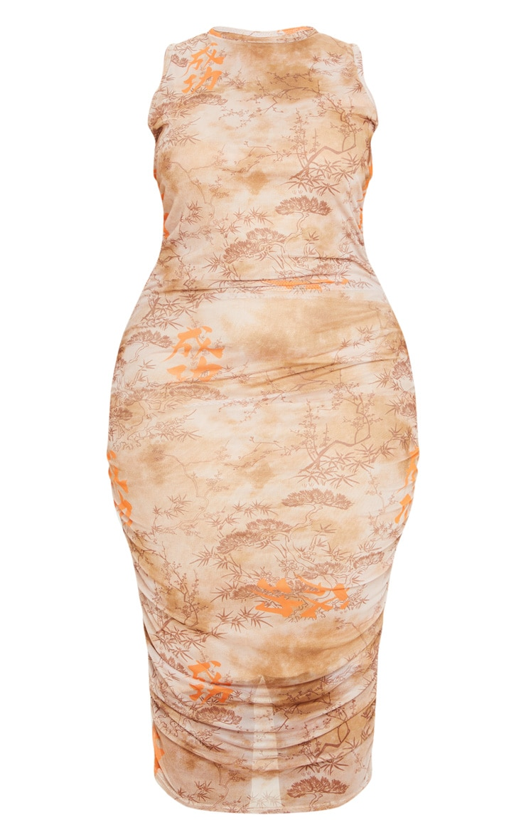 Plus Nude Rennaisance Print Sleeveless Midi Dress 3