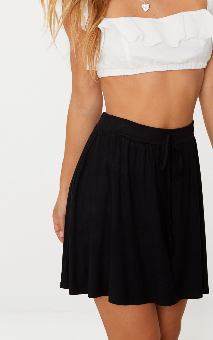 Black Jersey Floaty Mini Skirt 6