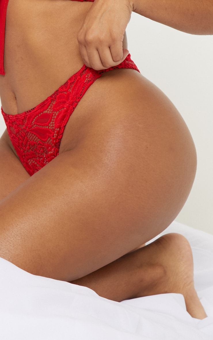 Shape Red High Rise Lace Thong 5