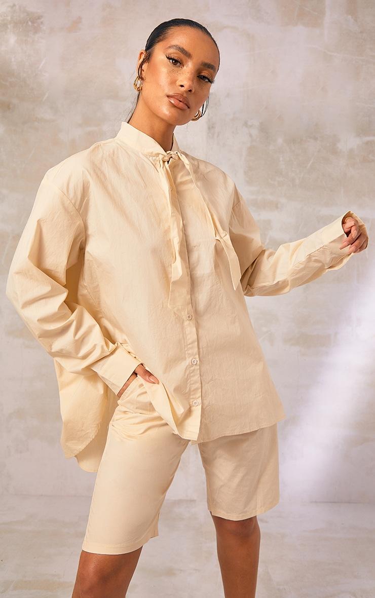 Cream Woven Oversized Tie Detail Shirt 1