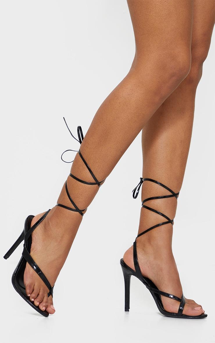 Black Cross Toe Loop Ankle Strappy High Heels 2