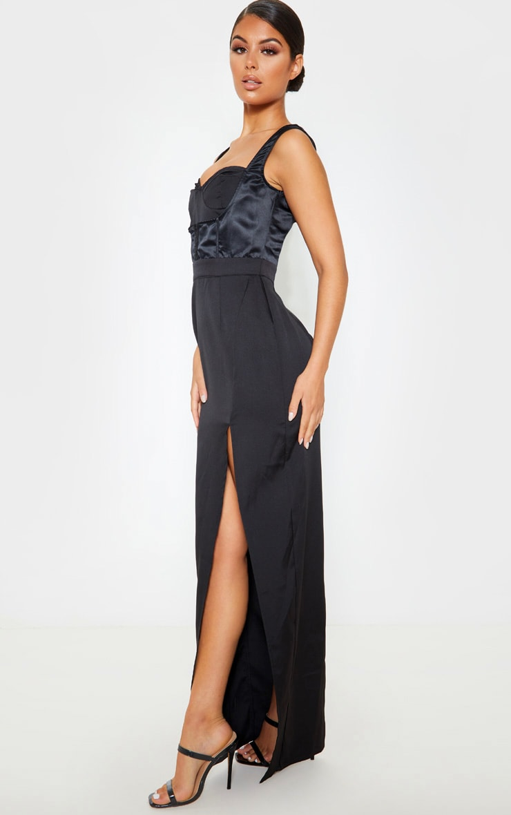 Black Corset Detail Sleeveless Maxi Dress 4