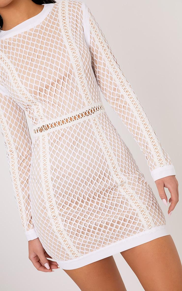 Thea White Fishnet Panel Bodycon Dress 5