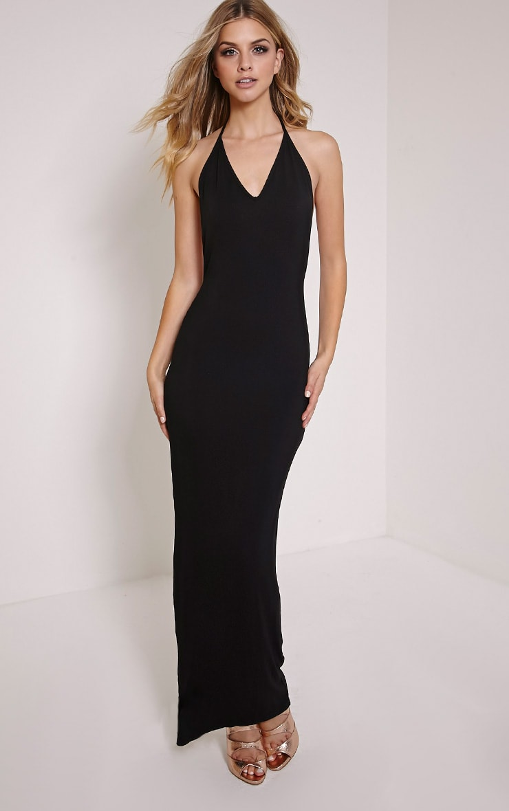 Basic Black T Bar Back Maxi Dress 4