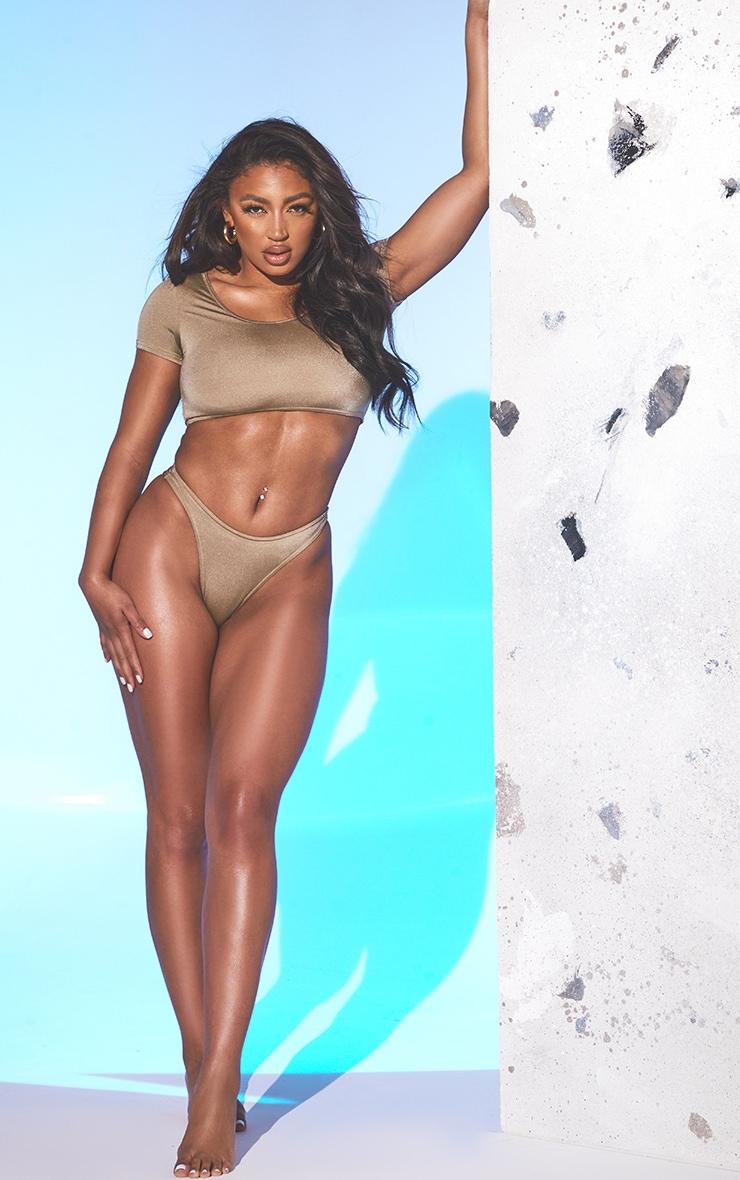 Brown T Shirt Brazilian Bikini Set 3