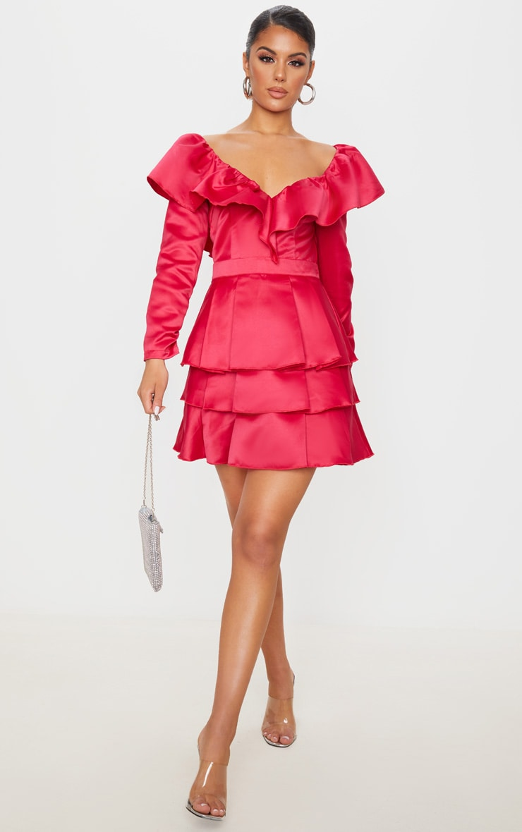 Red Long Sleeve Tiered Satin Skater Dress 2