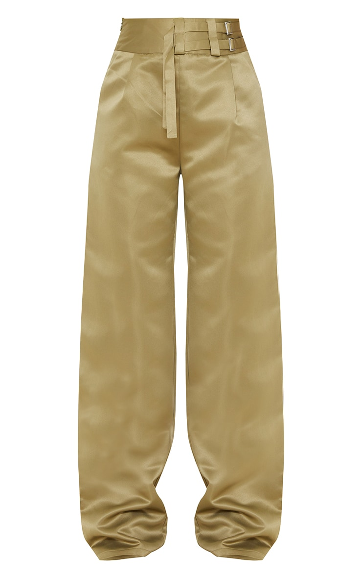 Olive Satin Buckle Detail Wide Leg Trousers 5