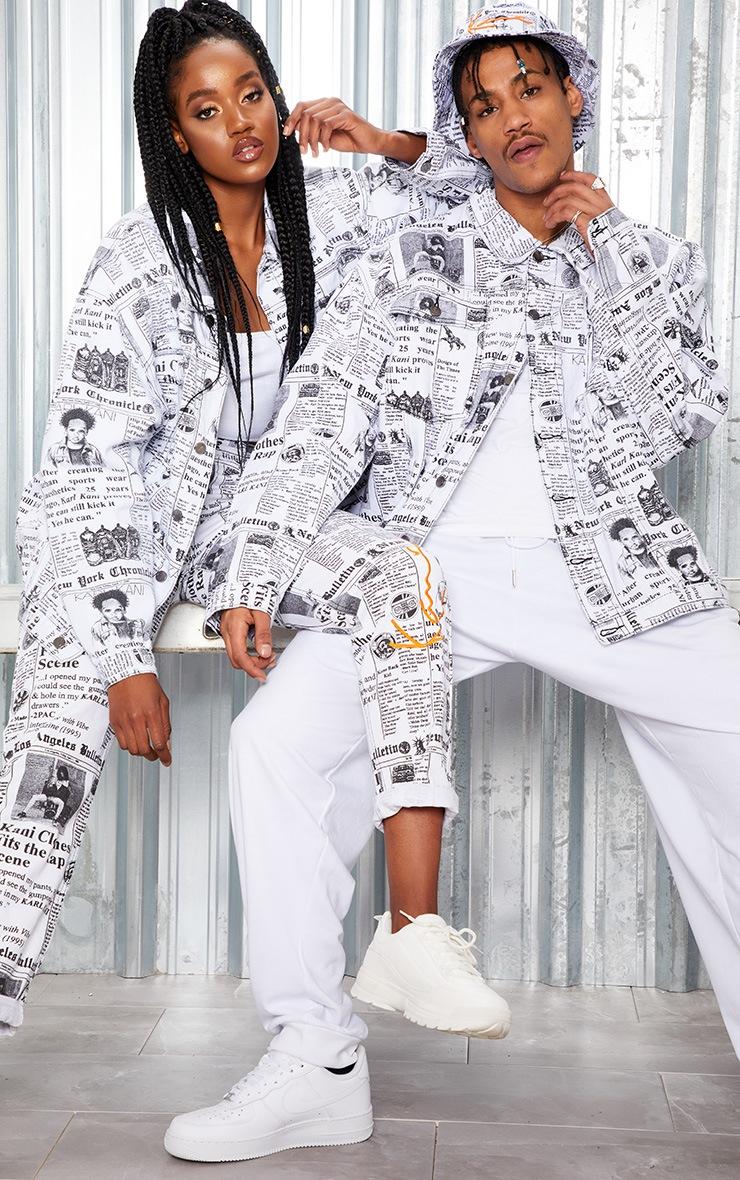 KARL KANI Monochrome Newspaper Oversized Denim Jacket 7
