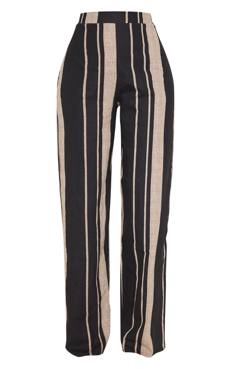 Black Woven Wide Leg Stripe Trouser 3