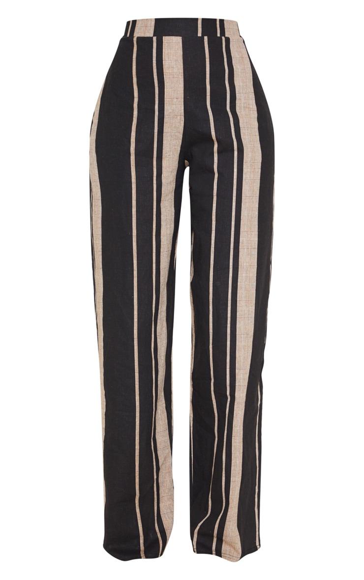 Black Woven Wide Leg Stripe Trouser 3