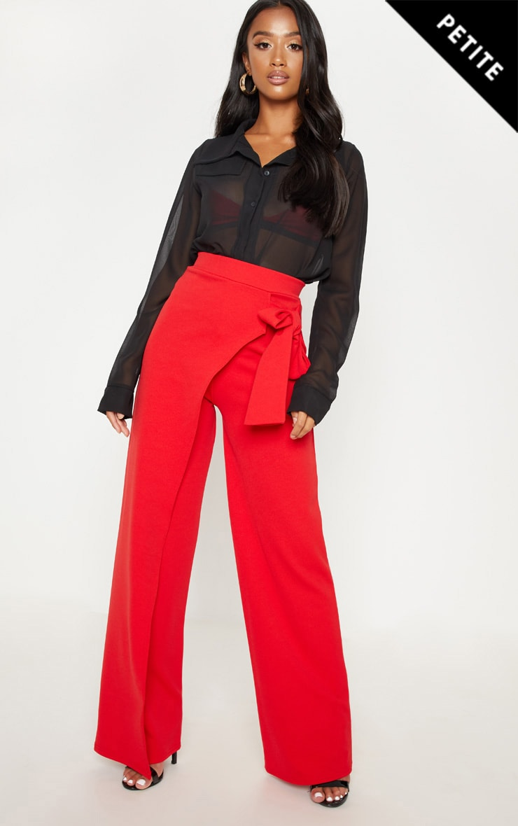 Petite Red Wrap Detail Extreme Wide Leg Trouser