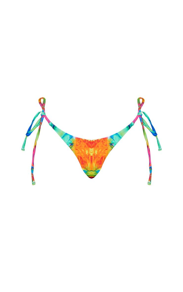 Multi Abstract Print Tie Side Bikini Bottoms 5