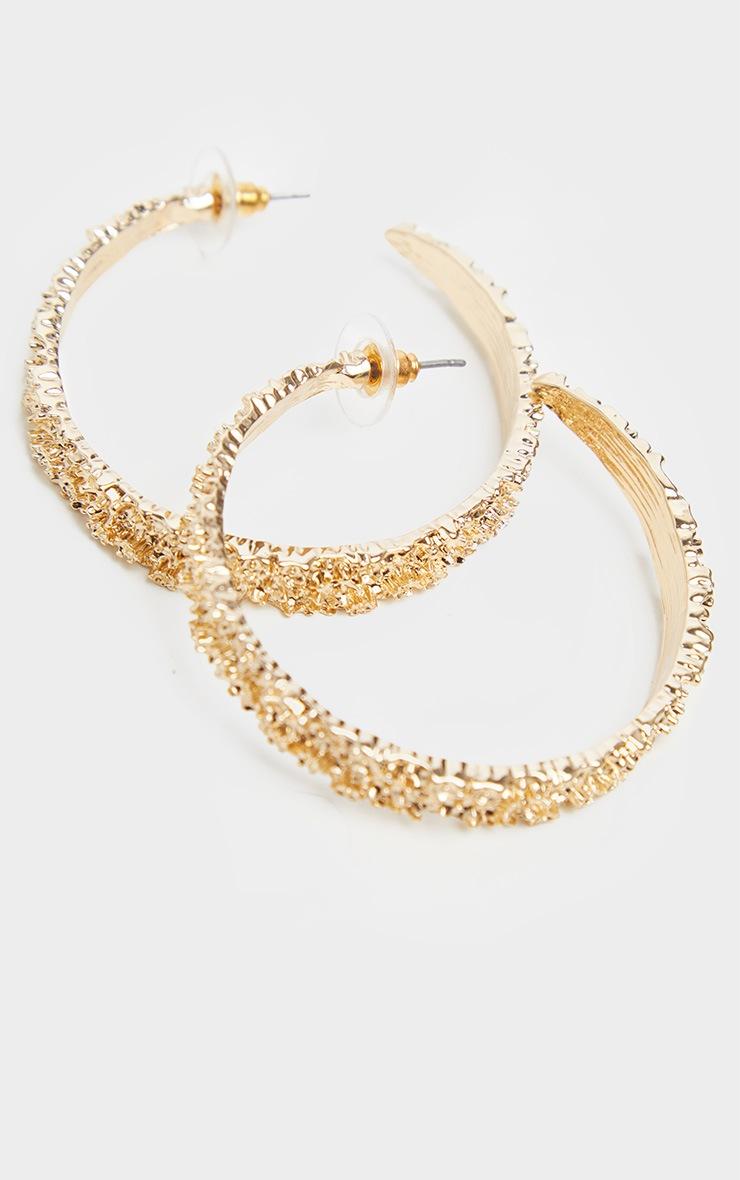 Gold Textured Medium Size Hoop Earrings 2