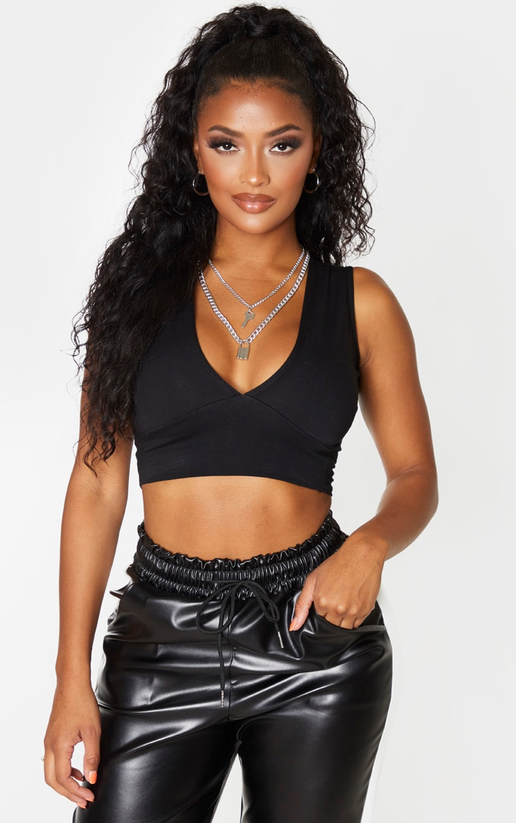 Shape Black Cotton Plunge Crop Top 4