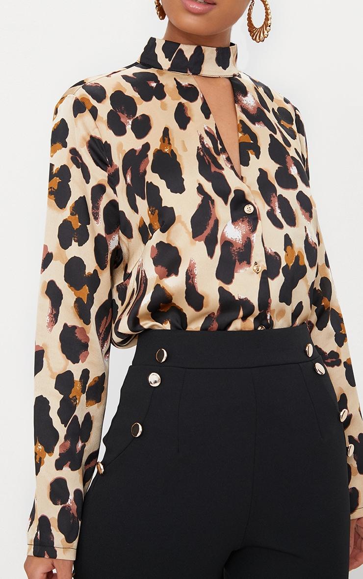 Tan Silky Leopard Print Choker Detail Blouse 5