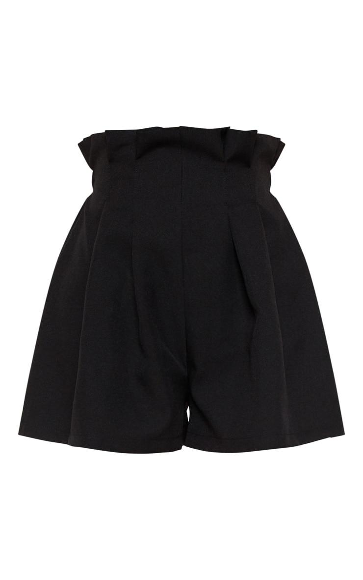 Short plissé en maille tissée noire à cordons 3