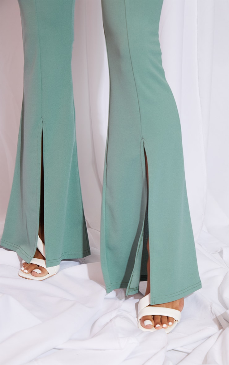 Sage Green Split Hem Flared Pants 4