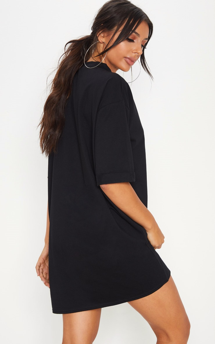 Black Oversized Boyfriend T Shirt Dress 2