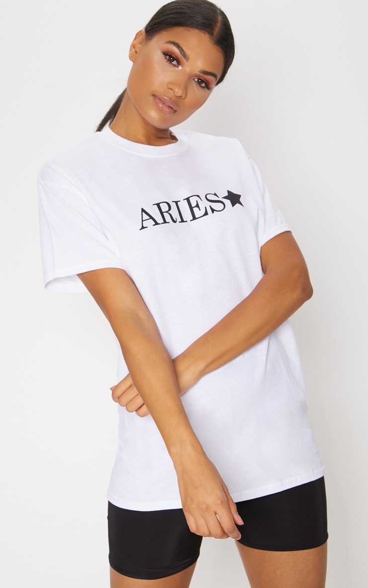 White Aries Star Sign Slogan Oversized T Shirt  1