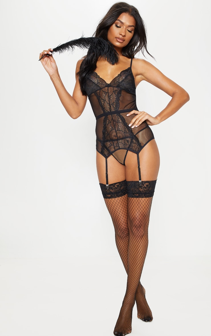 Black Fishnet Lace Suspender Body & Panties Set 4