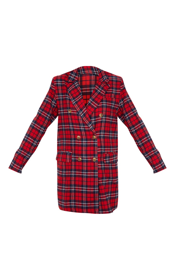Red Check Print Button Front Detail Oversized Blazer Dress 3