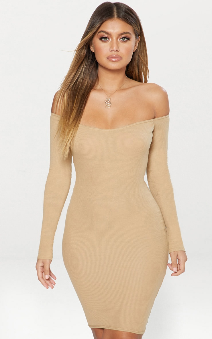 Camel Second Skin Bardot Ribbed Long Sleeve Midi Dress