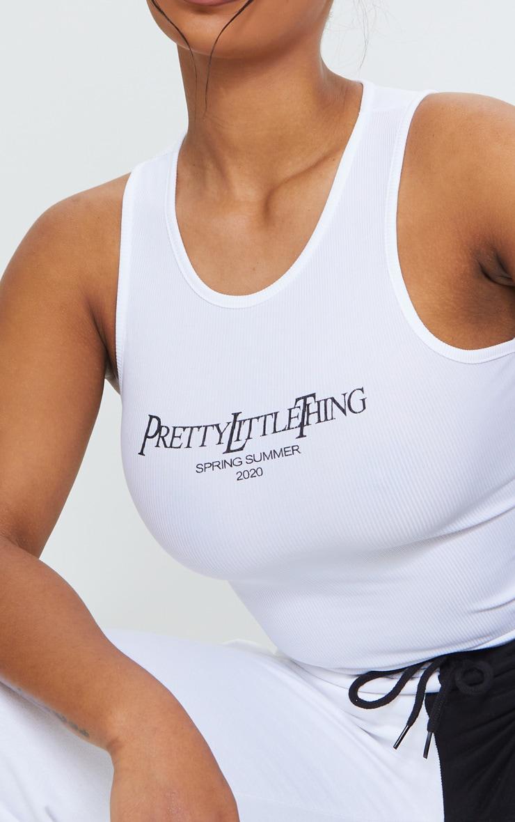 PRETTYLITTLETHING White SS20 Printed Rib Vest 4