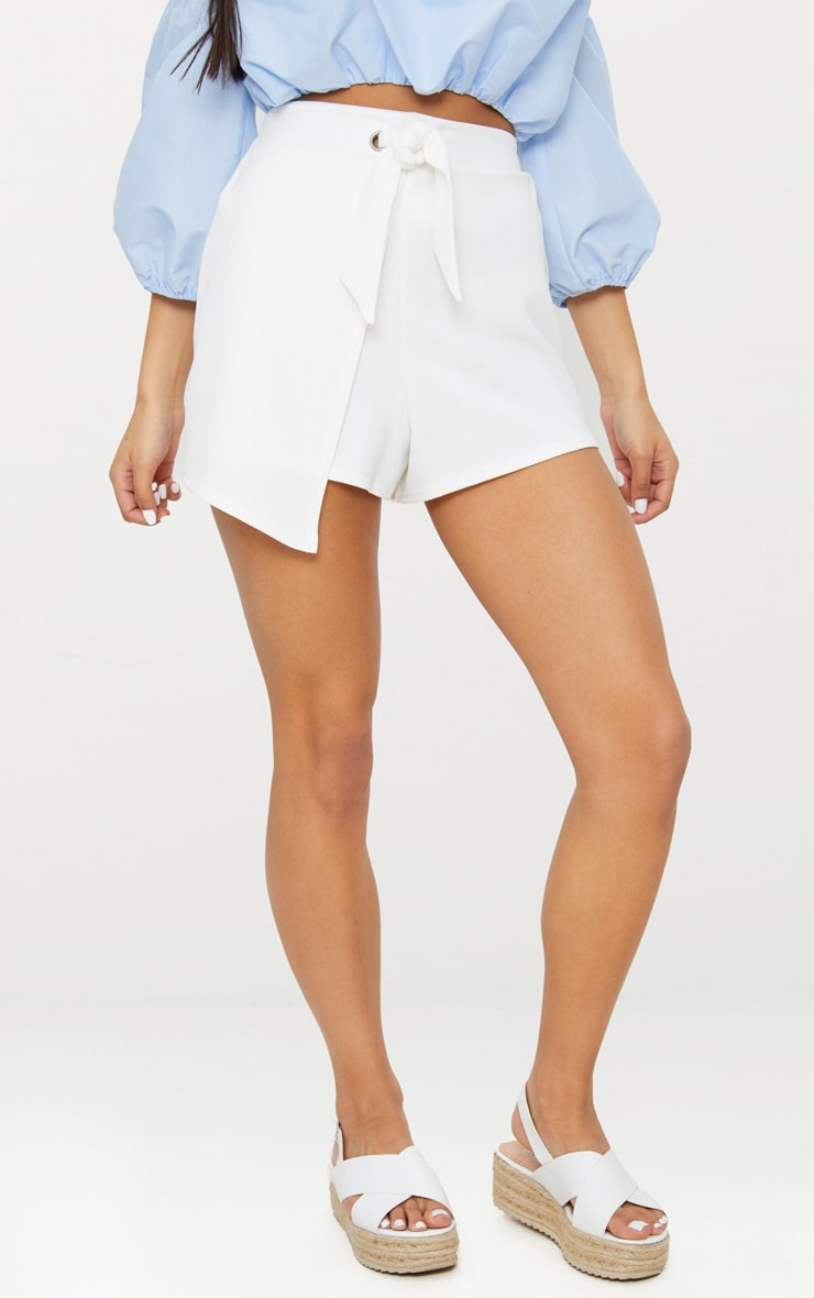 White Tie Front Wrap Short 4