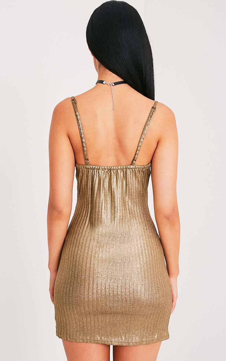 Abbygail robe mini en maille côtelée or métallisé 2