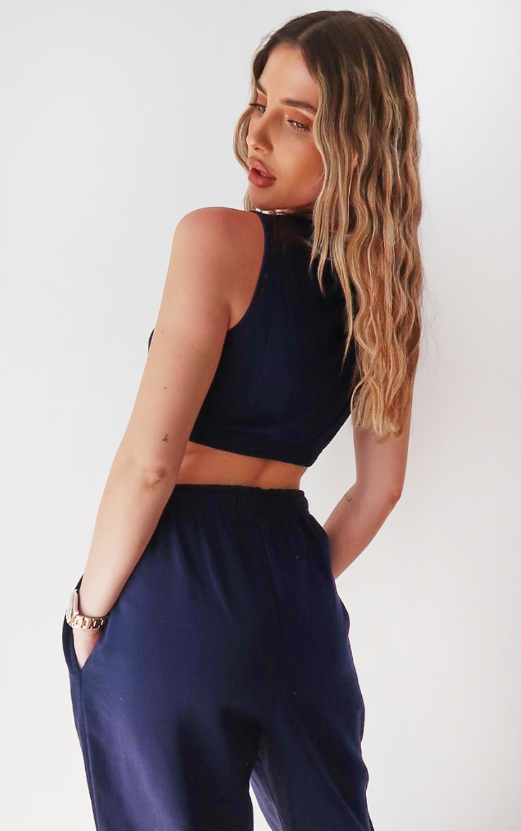 PRETTYLITTLETHING Navy Sleeveless Elastic Hem Crop Top 2