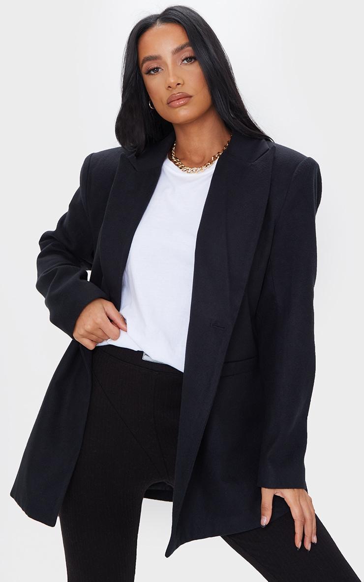 Black Wool Look Oversized Shoulder Padded Blazer 1