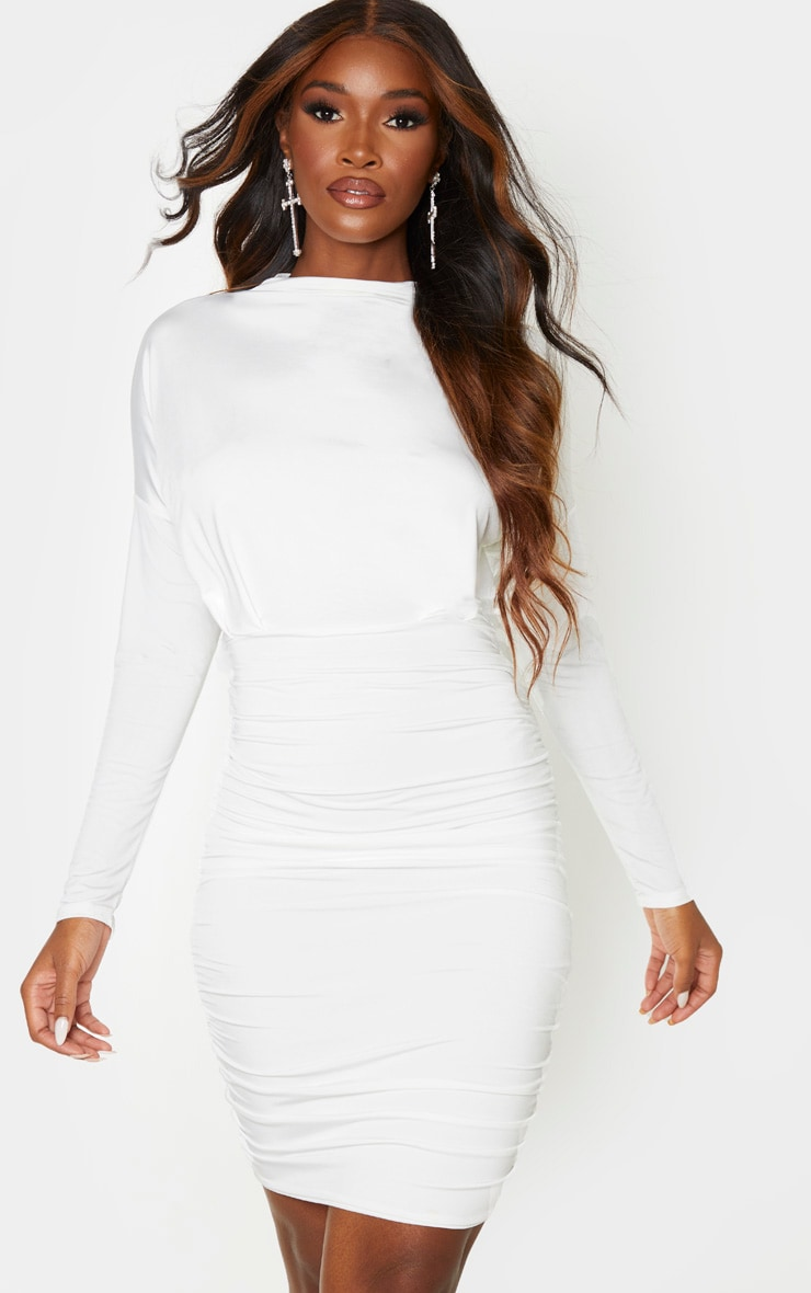White Slinky High Neck Long Sleeve Ruched Back Bodycon Dress 1