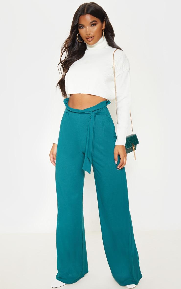 Pantalon ample ceinturé vert jade 1