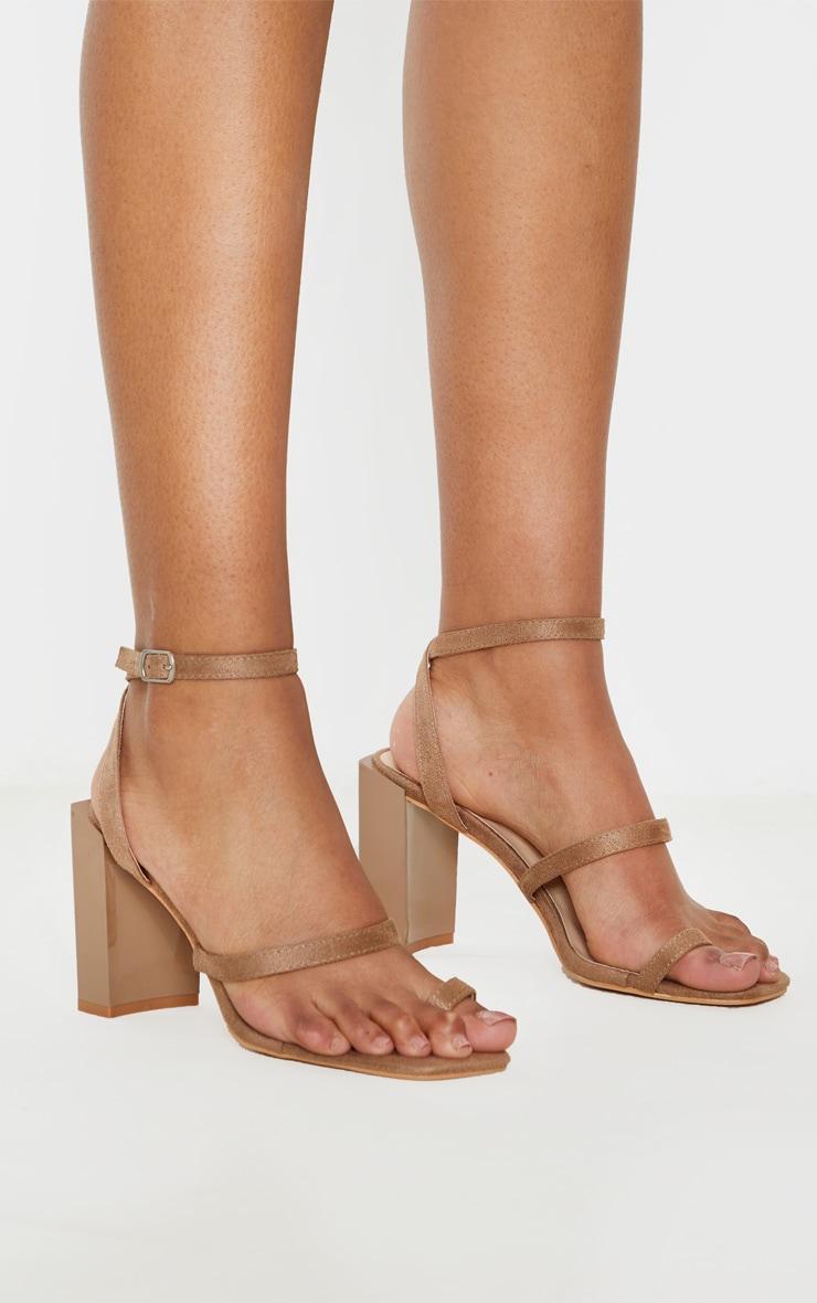 Sand Toe Loop Chunky Block Heel Sandal 1