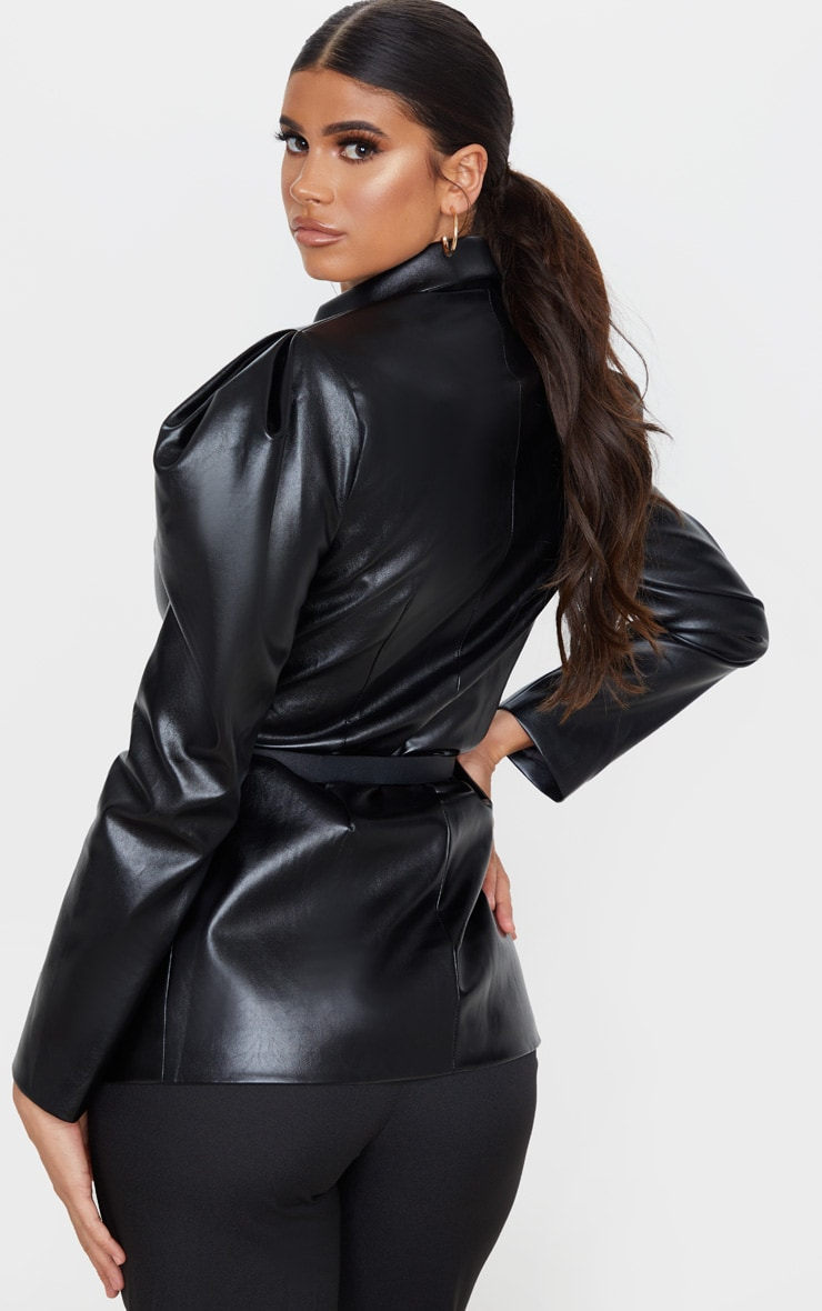 Black Faux Leather Belted Puff Sleeve Blazer 2