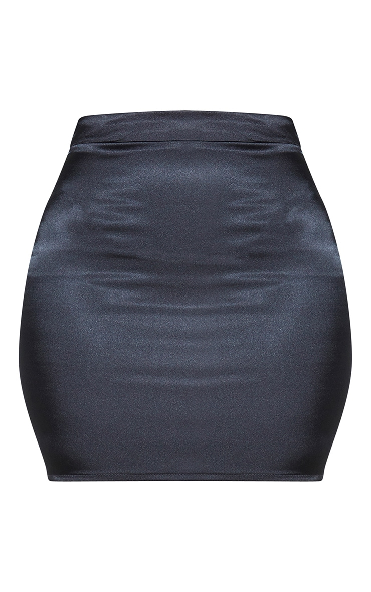 Black Satin High Waist Mini Skirt 3
