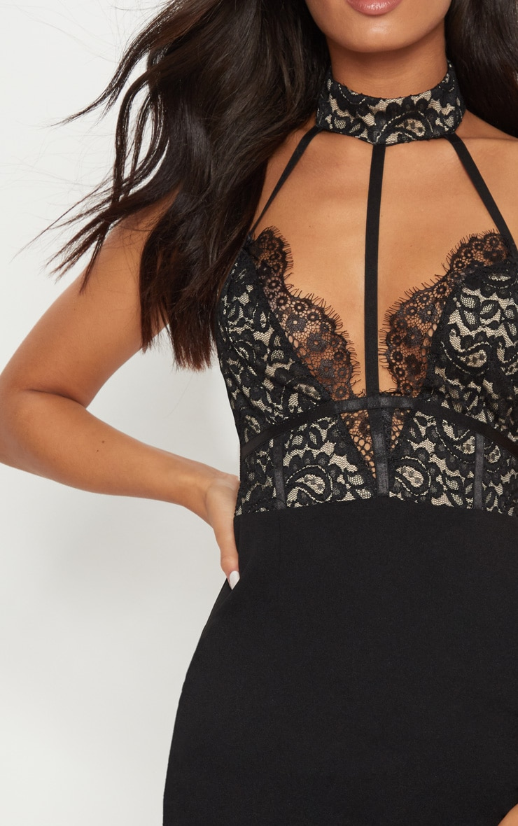 Black Lace Harness Detail Bodycon Dress  5
