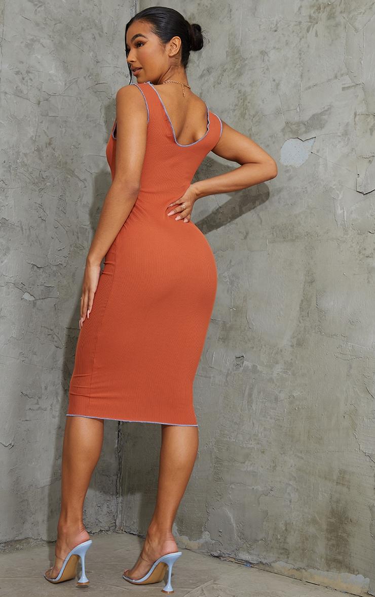 Rust Ribbed Contrast Edge Sleeveless Midi Dress 2