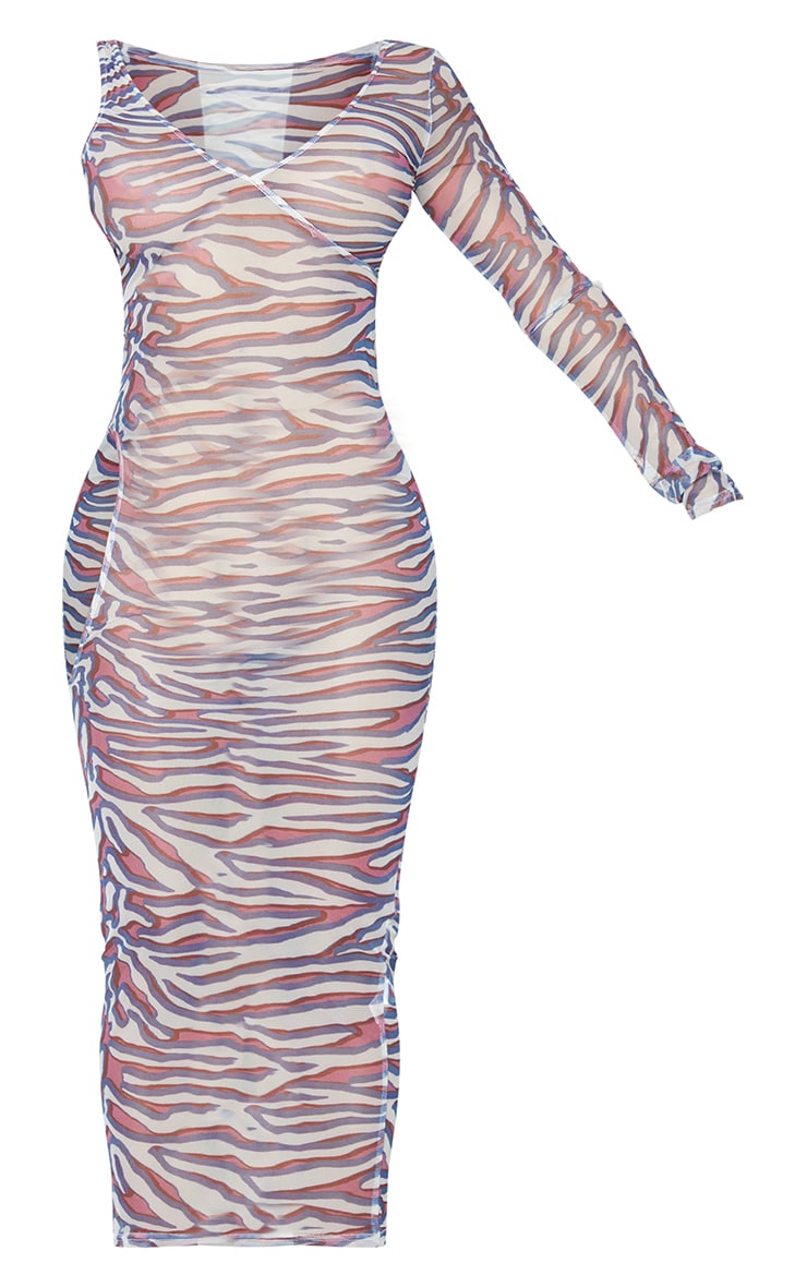 Shape Stone Zebra Print Sheer Mesh Cut Out Midaxi Dress 5