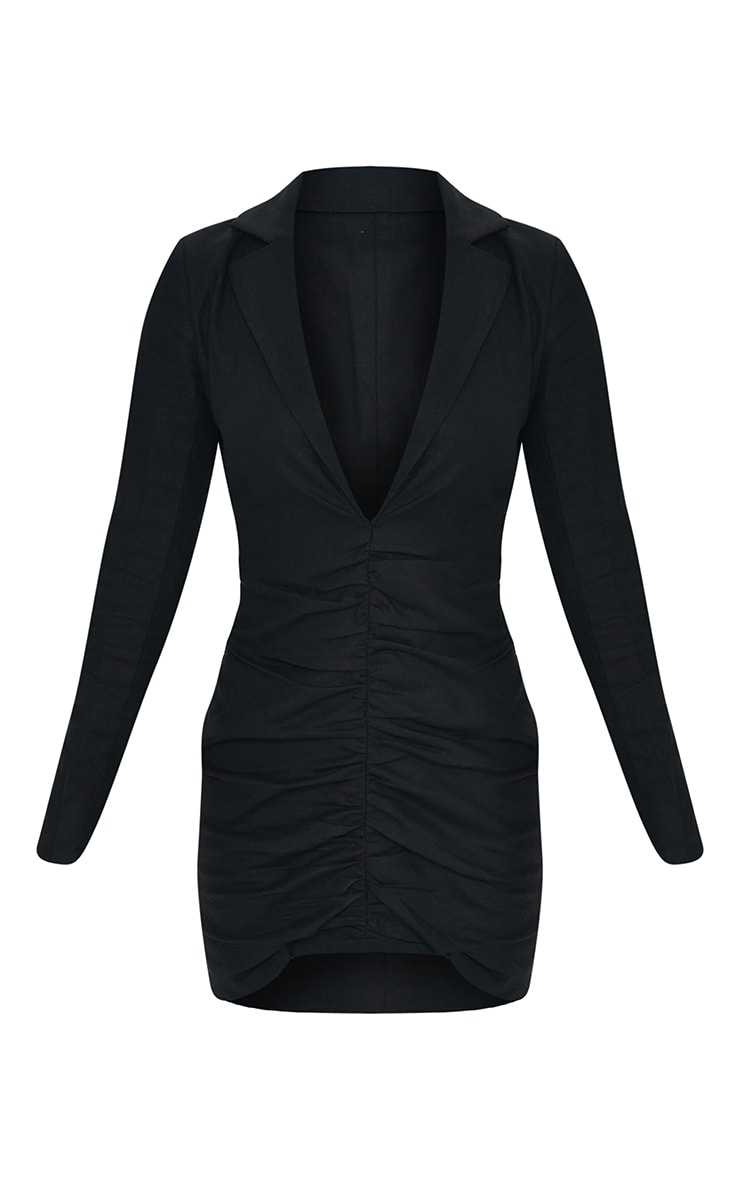 Black Plunge Ruched Front Blazer Dress 5