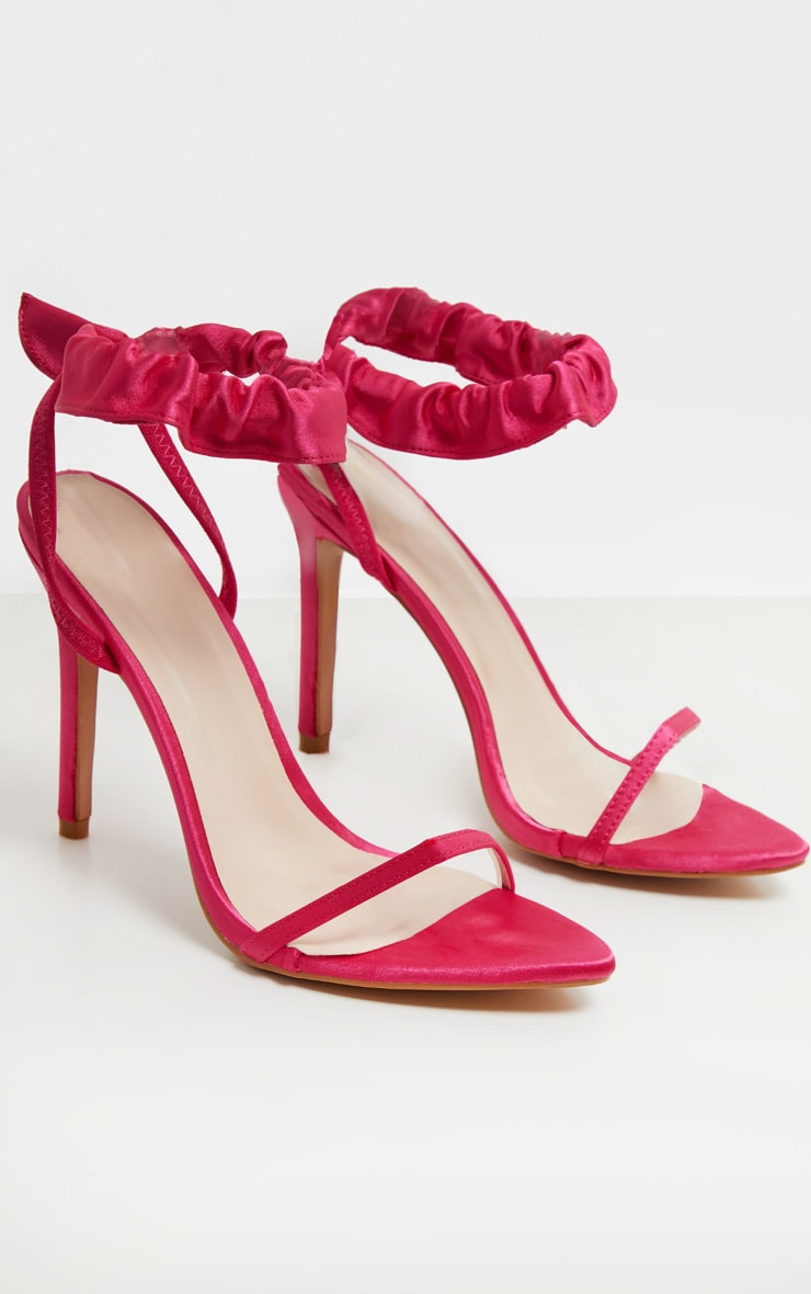 Fuchsia Satin Ruched Ankle Strap Heeled Sandal 4