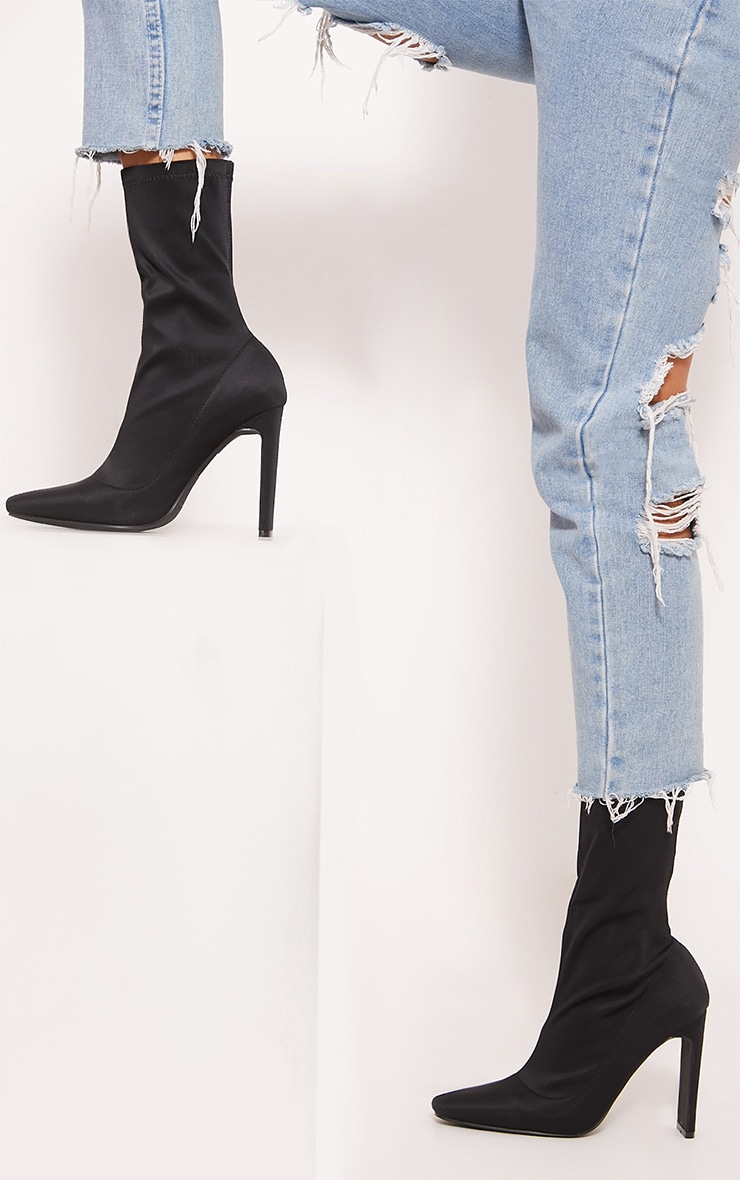 Black Lyrca Heeled Sock Boot