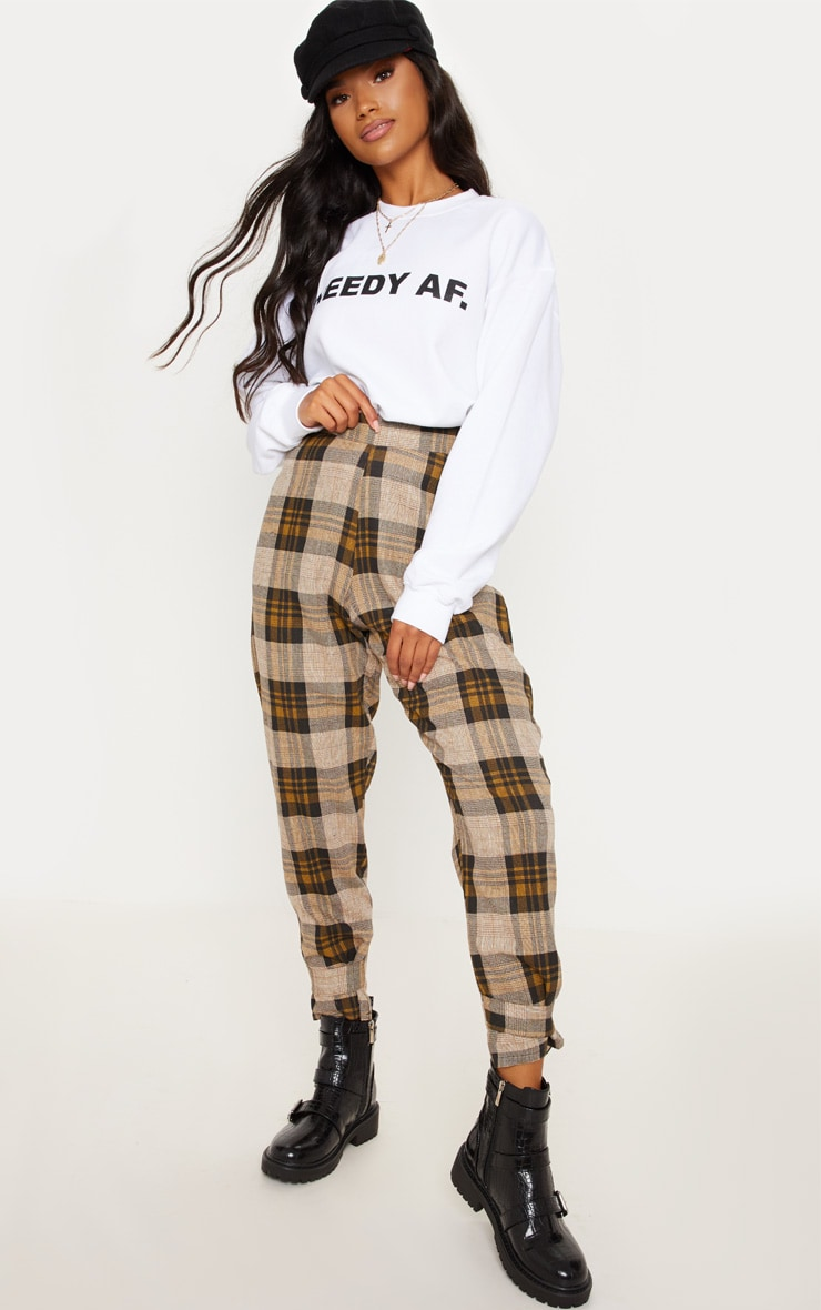 Brown Check Peg Leg Trousers 1
