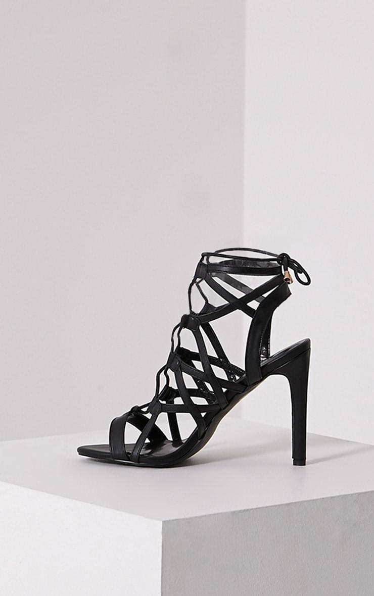 Varah Black Lace Up Heeled Sandals 4