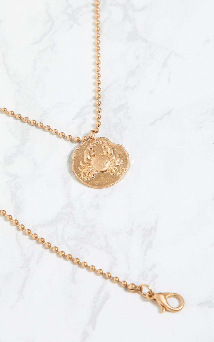 Gold Zodiac Cancer Coin Pendant Necklace 4