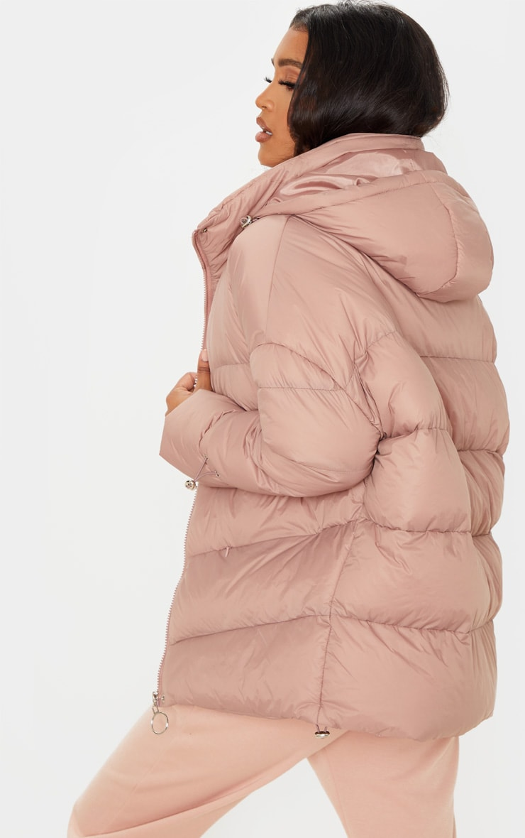 Taupe Hooded Puffer Jacket 2