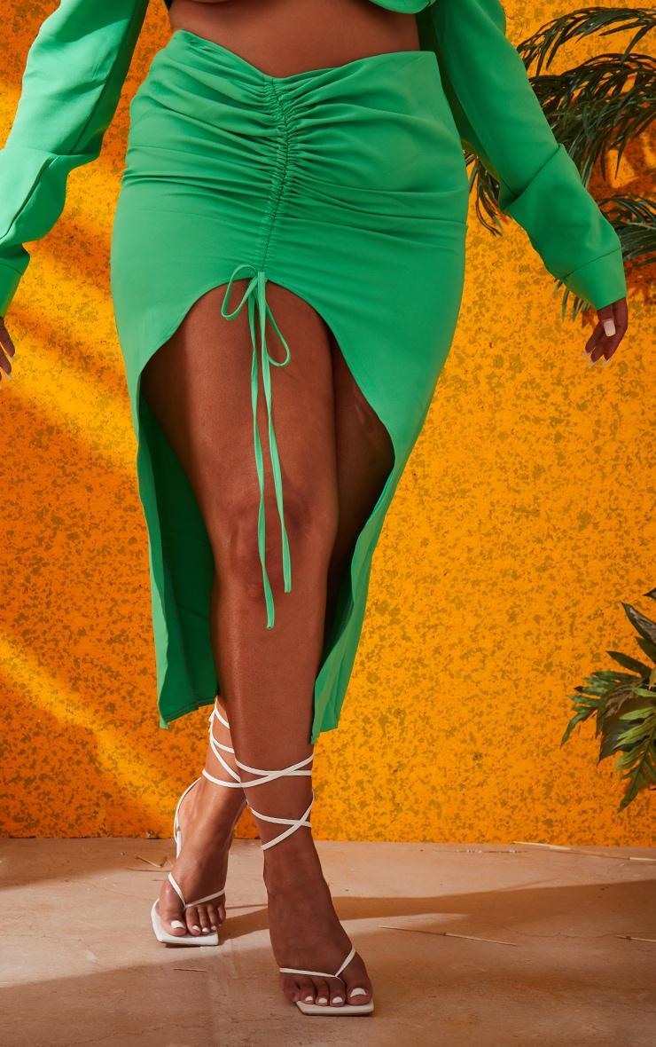 Plus Bright Green Woven Ruched Tie Front Split Leg Midi Skirt 2