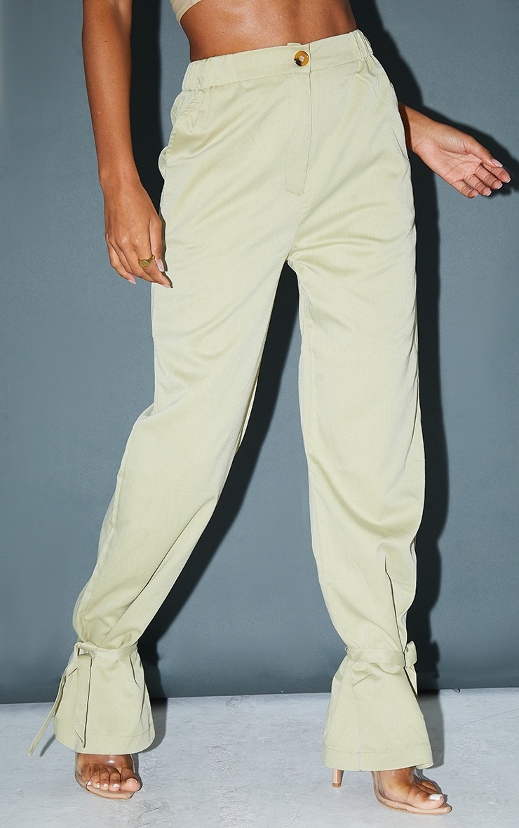 Pale Olive Tailored Elasticated Waist Tie Hem Trousers 2