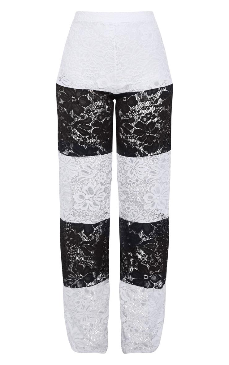 Black Colour Block Stripe Lace Wide Leg Trouser 3