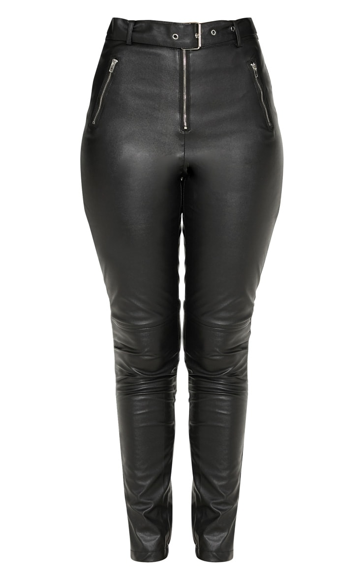 Black Faux Leather Belted Zip Detail Skinny Pants 3